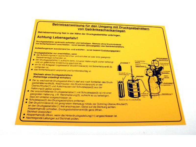 Betriebsanweisung für Getränkeschankanlagen selbstklebend