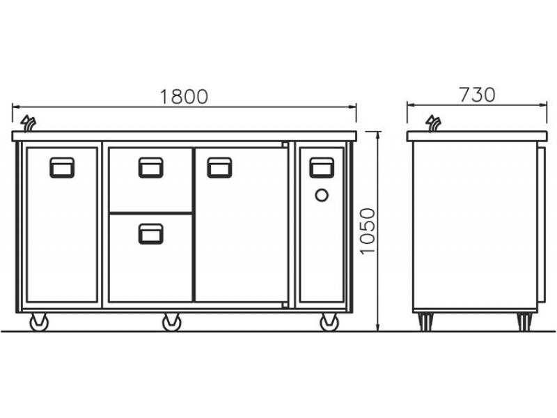 Mobile KühlTheke dynamisch 1800 mm, 3870,00 €, Bode  ~ Spülbecken Theke