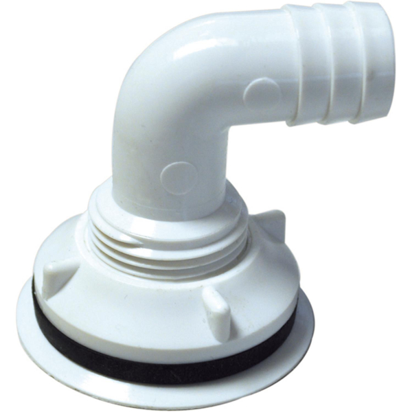 Abflussverschraubung Abfluss für Einlasstropfkästen - Abgang 90 Grad