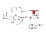 T- Rohrverbinder Anthrazit Design für 38,1 mm Rohre