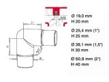 90 Grad Rohrverbinder Chrom Design für 19, 25,4,...