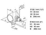 Kugel Rohrverbinder Chrom Design für 25,4 oder 38,1...