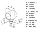 Kugel Rohrverbinder Chrom Design für 25,4, 38,1mm Rohr