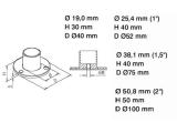 Wand- und Bodenflansch Chrom Design 19, 25,4, 38,1 oder 50,8 mm