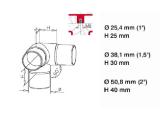 90 Grad Rohrverbinder Edelstahl Design für 25,4, 38,1 oder 50,8 mm Rohr