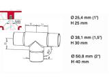 T- Rohrverbinder Edelstahl Design für 25,4 oder 38,1 mm Rohr