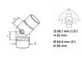 Rohrverbinder variabel Edelstahl Design für 38,1 oder 50,8 mm Rohr