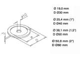 Rosette Edelstahl Design für 25,4, 38,1 oder 50,8 mm Rohrhalter