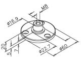 Innenflansch Messing Design für 25,4 mm Rohr