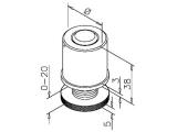 Fusskappe verstellbar für 25,4 oder 38,1 mm Rohre
