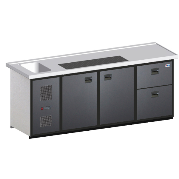 Biertheke Kühltheke MaxiMax 2150mm mit Anthrazit oder Edelstahl Front