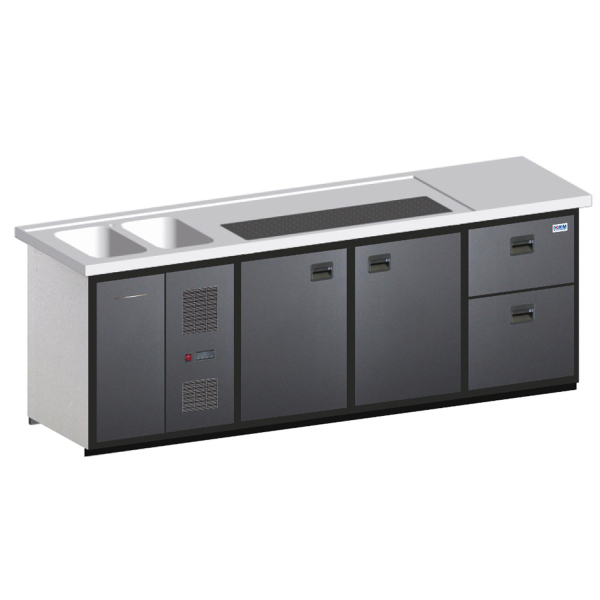 Biertheke Kühltheke MaxiMax 2550mm mit Anthrazit oder Edelstahl Front