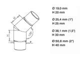 45 Grad Rohrverbinder Messing Design für 25,4, 38,1 oder 50,8 mm Rohr