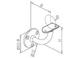 Handlaufstütze Messing Design Handlaufträger 38,1 oder 50,8 mm.