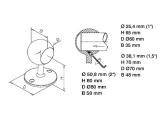 Handlaufhalter Messing Design Rohrendhalter für 25,4, 38,1 mm Durchmesser