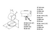 Handlaufträger Messing Design Rohrhalter für 19,0, 25,4, 38,1, oder 50,8 mm Durchmesser