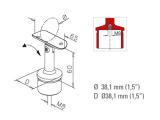Handlaufhalter Messing Design Rohrhalter für 38,1 mm...