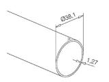 Messingeffekt Rohr 38,1 mm im Zuschnitt