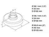 Abdeckkappe Edelstahl Design für Innenrohrflansch für 25,4, 38,1 oder 50,8 mm Rohr