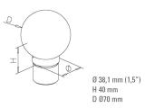 Endkugel Messing Design für 25,4 oder 38,1 mm Rohr