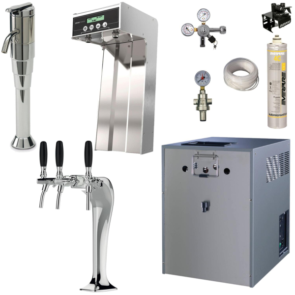 Tafelwassergerät Wasserzapfanlage Trinkwasser 20 L/h & blupura Bluglass Tower