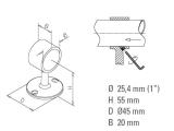 Rohrhalter Anthrazit für 25,4 oder 38,1 mm Durchmesser