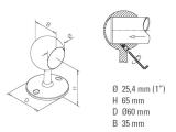 Rohrendhalter Chrom für 25,4, 38,1, oder 50,8 mm...