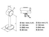 Rohrhalter 130mm Chrom für 25,4 oder 38,1 mm...