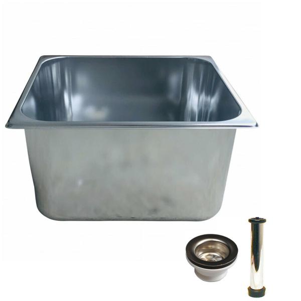 Spülbecken Gastrobecken 33x30cm - 20cm tief - Edelstahl - Ab- und Überlaufgarnitur