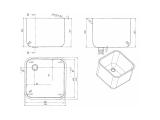 Spülbecken Gastrobecken 40x40cm - 30cm tief - Edelstahl - Ab- und Überlaufgarnitur