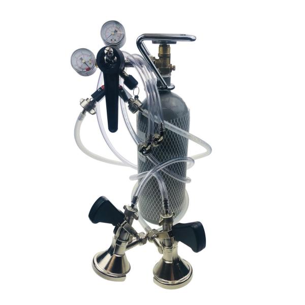 Zapfanlage SET 2-ltg Druckminderer CO2 und Bierschlauch KEG Zapfkopf CO2-Flasche