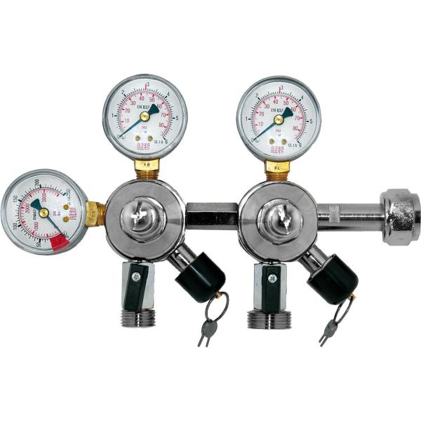 CO2 Kombi Druckregler Druckminder Ventil mit Inhaltsanzeiger 2-ltg 3bar & 7bar