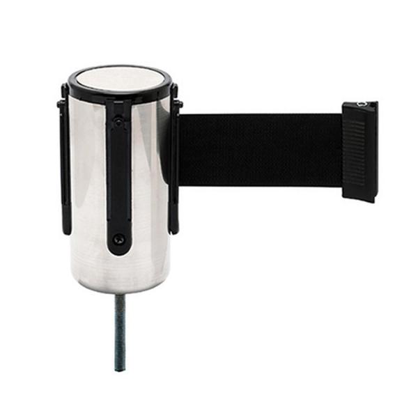 Ersatz-Kassette Edelstahl-Design, Absperrband schwarz, Bandlänge 2 m