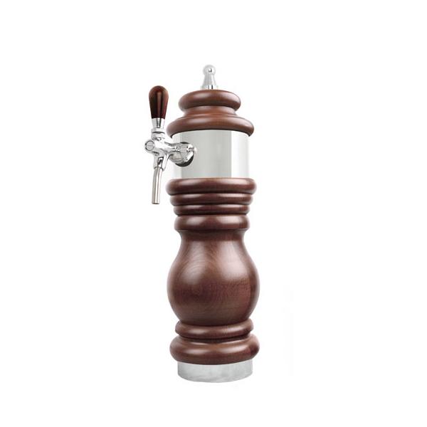 Schanksäule Bierschanksäulen aus Holz - 1-leitig - Chrom Design