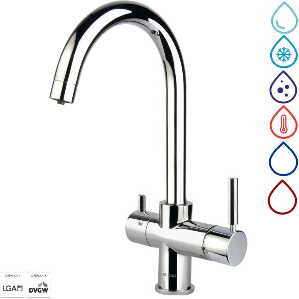 Wasserhahn Küche Mischbatterie 5-Wege C-Auslauf Chrom