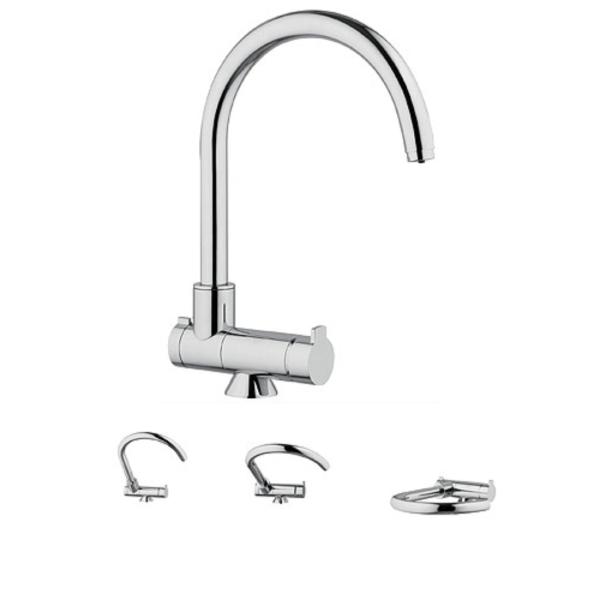 Wasserhahn Küche Mischbatterie 3-Wege C-Auslauf Chrom Dreh- und klappbar