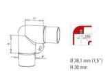 90 Grad Rohrverbinder halbrund Anthrazit Design für 25,4 und 38,1 mm Rohre