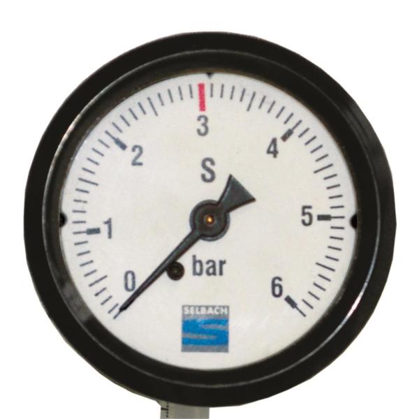 Kontrolluhr Kontrollmanometer für CO2 zum Einbau in verwendungsfertige Anlage