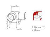 90 Grad Rohrverbinder Anthrazit Design für 25,4 und...