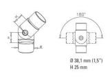 Variabler Rohrverbinder Anthrazit Design für 38,1 mm...
