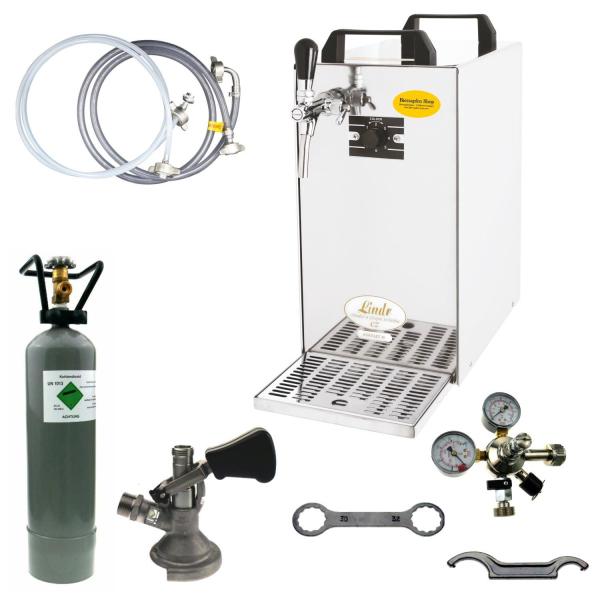 Bierkühler Bierzapfanlage 60 Liter/h - 1-leitig - Durchlaufkühler - KOMPLETTSET