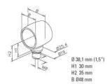 Kugel Rohrverbinder Anthrazit Design für 25,4 und 38,1 mm Rohre