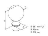 Endkugel Anthrazit Design rund für 38,1 mm Rohre