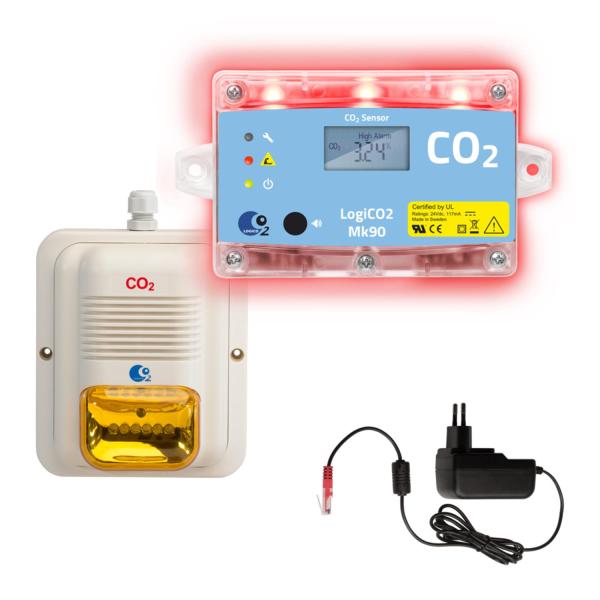 Gaswarnanlage CO2 Mk90 LogiCO2 Stand-Alone-Set Gaswarngerät - 1 Raum Überwachung