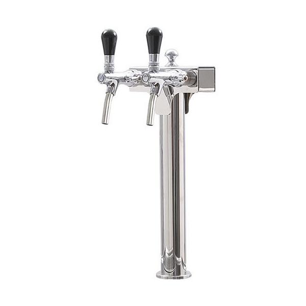 Edelstahl poliert Schanksäule Zapfsäule Bier Wasser 2-leitig mit 2x Zapfhahn