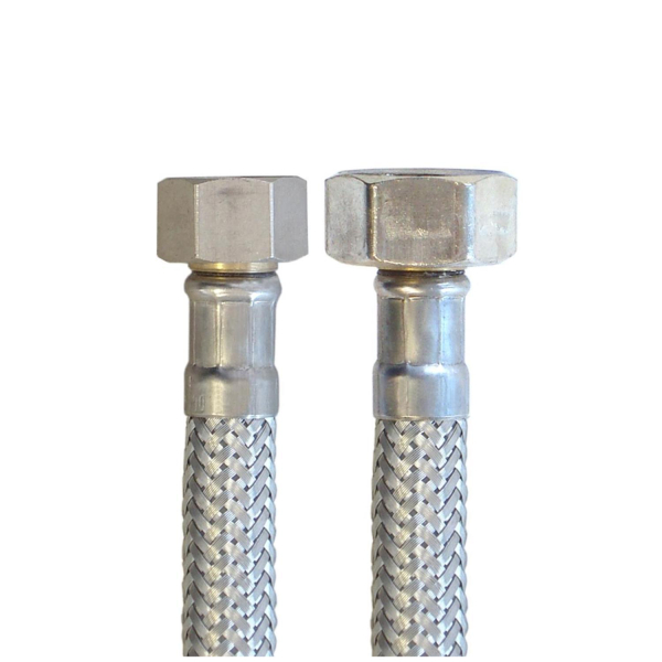 Flex Wasser Sanitär Gewebe Anschluß Schlauch DN8 - 3/8 Zoll IG auf 1/2 Zoll IG