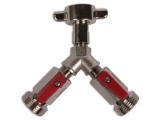 Absperrhahn 2-leitig für Druckminderer 1/2 Zoll oder 3/4 Zoll