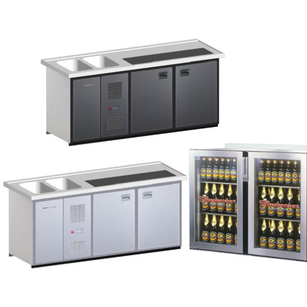 Biertheke Kühltheke MaxiMax 2000mm mit Anthrazit oder Edelstahl Front