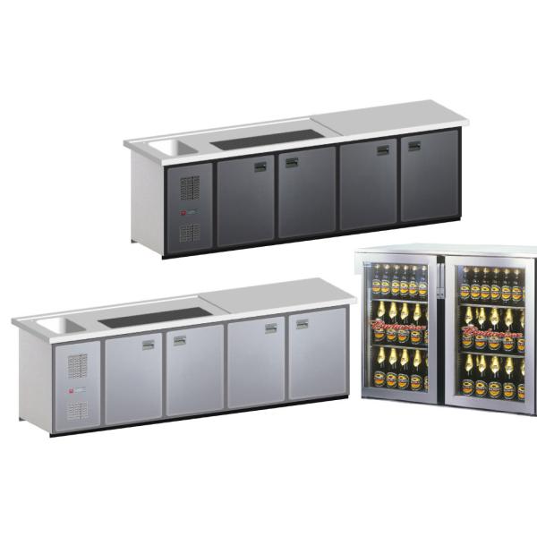 Biertheke Kühltheke MaxiMax 2700mm mit Anthrazit oder Edelstahl Front