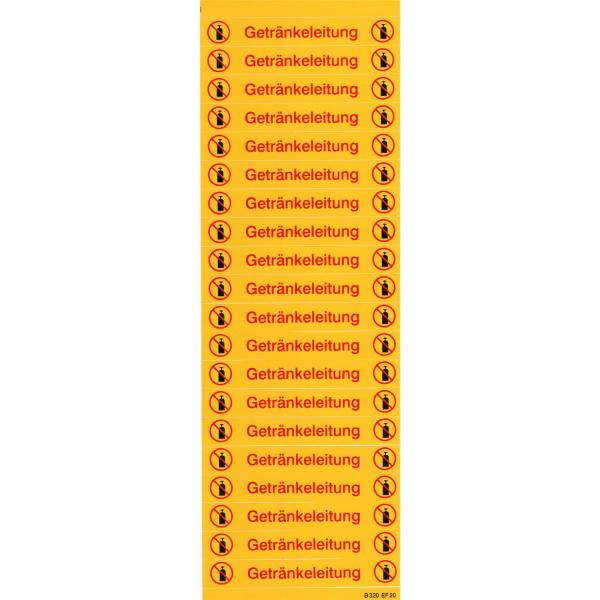 Etikettenbogen mit 20 Etiketten pro Bogen für Getränkeleitungen
